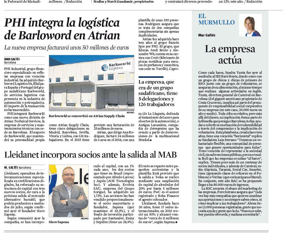 PHI Industrial integra la logística de Barloworld en Atrian