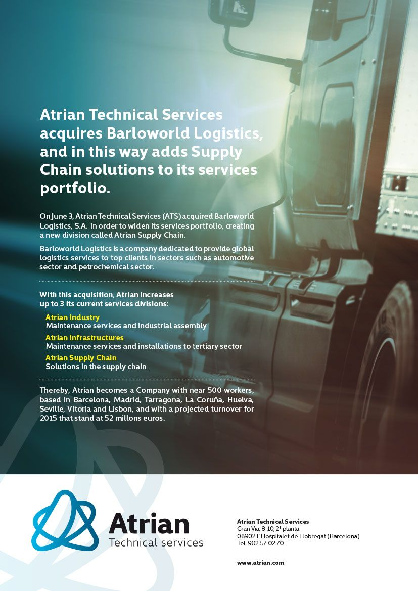 Atrian Technical Services acquires Barloworld Logistics, and in this way adds Supply Chain solutions to its services portfolio