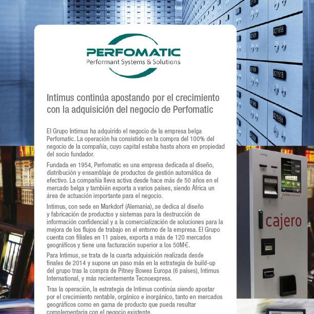 Intimus continúa apostando por el crecimiento con la adquisición del negocio de Perfomatic