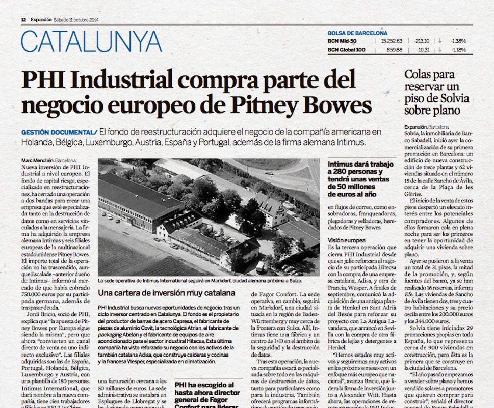 PHI Industrial compra parte del negocio europeo de Pitney Bowes