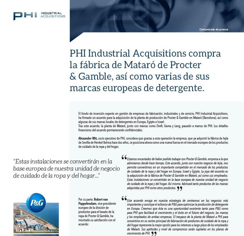 PHI Industrial Acquisitions compra la fábrica de Mataró de Procter & Gamble.