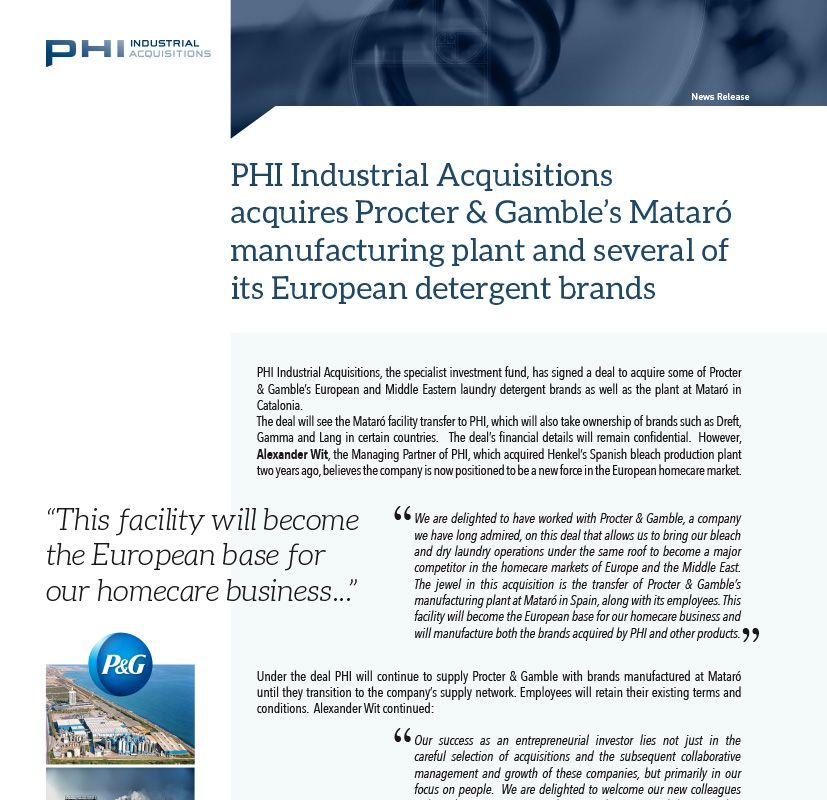 PHI Industrial Acquisitions acquires Procter & Gamble's Mataró manufacturing plant and several of its European detergent brands