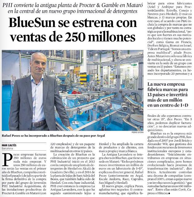 El arranque de BlueSun, noticia en La Vanguardia
